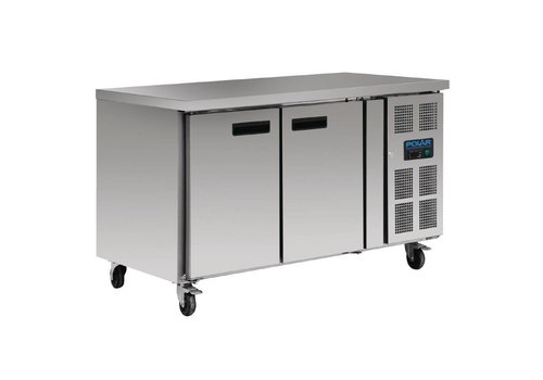 Polar Refrigerated stainless steel workbench 2 door with castors | 86 x 136 x 70 cm