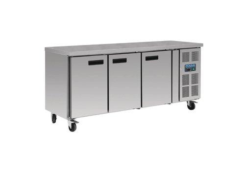 Polar Stainless steel workbench 3-door freezer   417L
