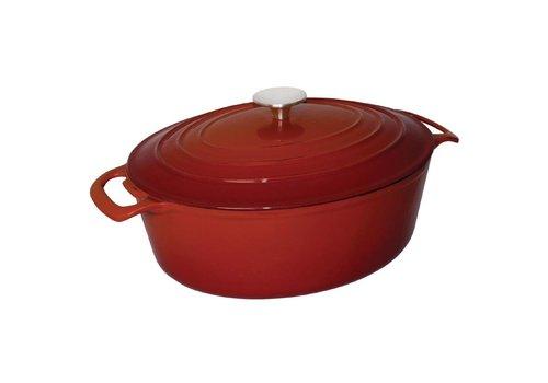 Vogue Ovale braadpan rood | 6 liter