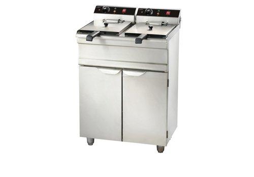 Combisteel Electric fryer with cabinet - 2 x 13 liters
