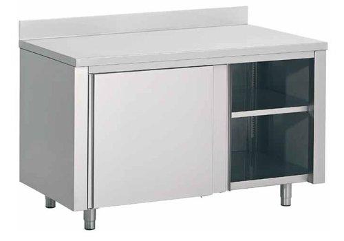 Combisteel Werktafel met Schuif Deuren en Spatrand | 160x70x(H)85cm