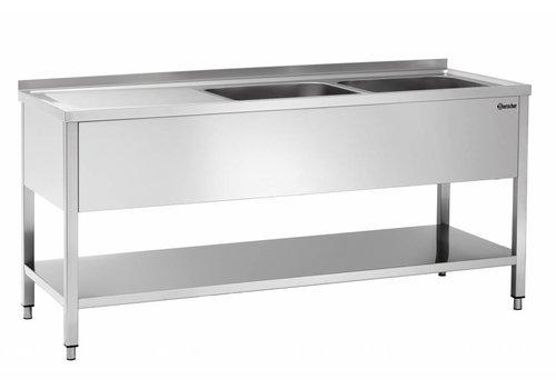 Bartscher Edelstahl-Spüle mit 2 Waschbecken rechts | 180x70x85 cm