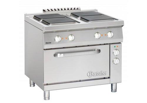 Bartscher 4 elektrische kookplaten met elektrische oven