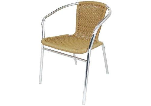Bolero Patio chair Light brown with Armrest 4 pieces
