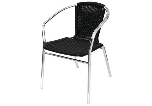 Bolero Terrace Chair Black with Armrest | 4 pieces