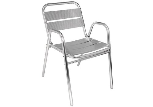 HorecaTraders Patio chair Stackable with Armrest 4 pieces