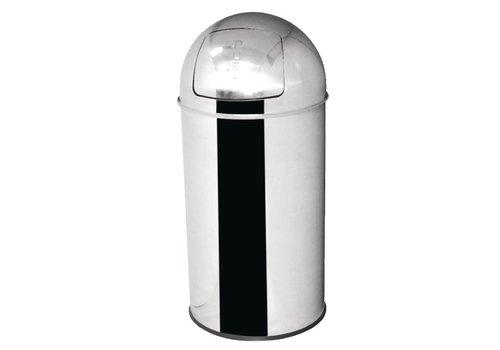 HorecaTraders Stainless steel Waste Bucket self-closing lid 40 liters
