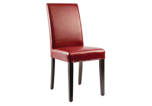 HorecaTraders Artificial leather Chairs Red 2 pieces