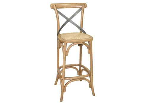 HorecaTraders Wooden bar stool with crossed backrest