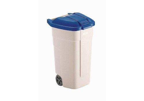 Rubbermaid Rolcontainer Blauwe Deksel | 100 Liter