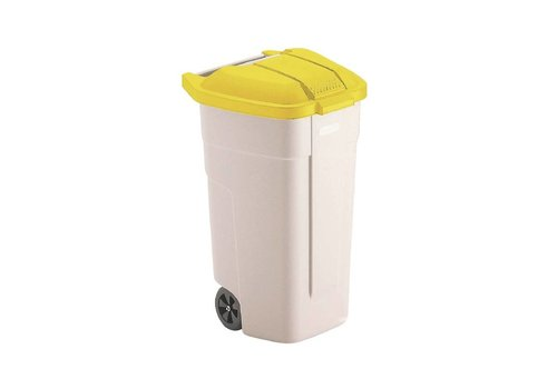 Rubbermaid Rolcontainer Yellow Cover   100 liters