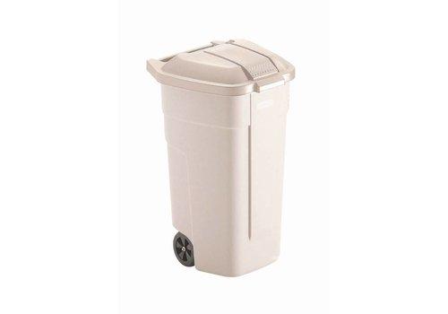 Rubbermaid Roller Beige with lid   100 liters