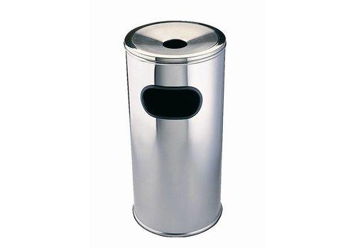 HorecaTraders Runder Abfallbehälter mit Aschenbecher | Erhältlich in zwei Größen