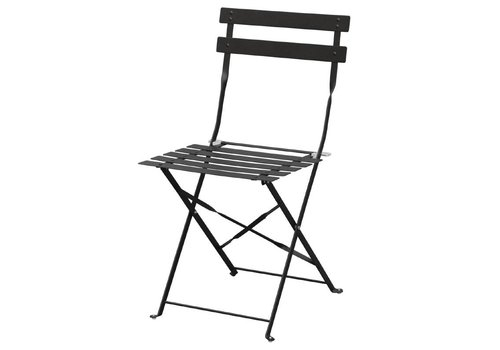 Bolero Steel Bistro Chairs Black 2 pieces