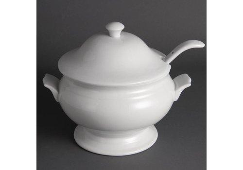 Olympia Weißes Porzellan Suppentopf 2,5 Liter