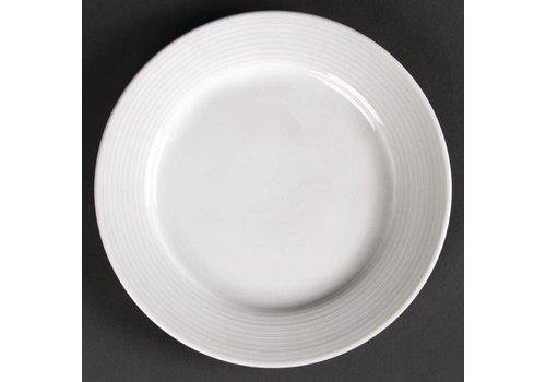 Olympia Weißes Porzellan flache Platte mit breitem Rand 20 cm (12 Stück)