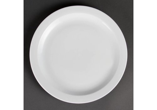 Olympia Weiße Porzellanteller schmalen Rand 28 cm (6 Stück)