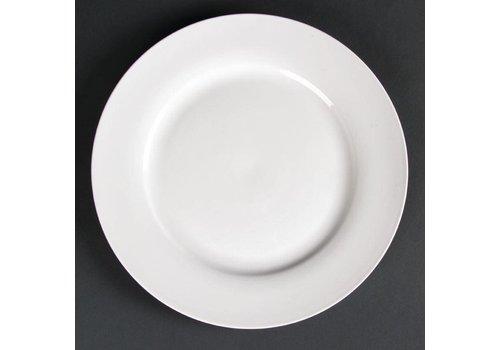 HorecaTraders Groot wit serveerbord brede rand 27 cm (stuks 4)