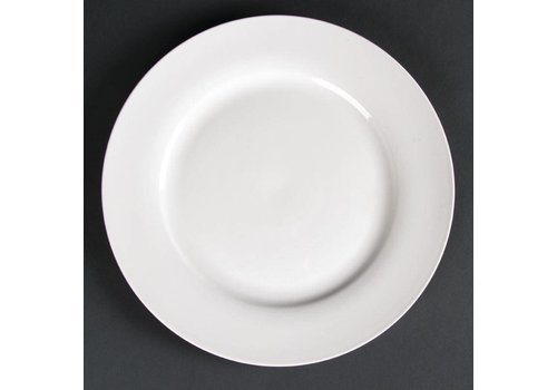 HorecaTraders Große weiße Servierplatte breite Krempe 27 cm (4 Stück)