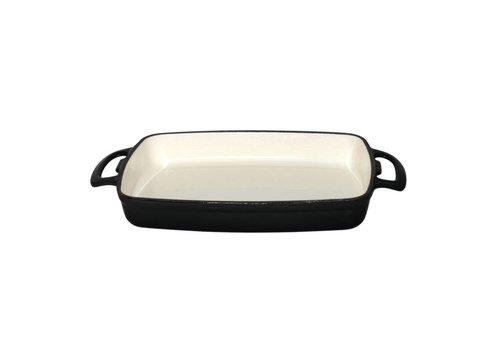 Vogue Rechthoekige ovenschaal zwart 1,8 Liter | inductieproof