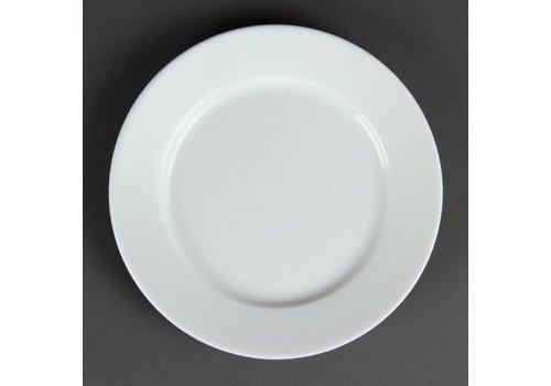 HorecaTraders Restaurant wit bord met brede rand 20 cm (stuks 12)