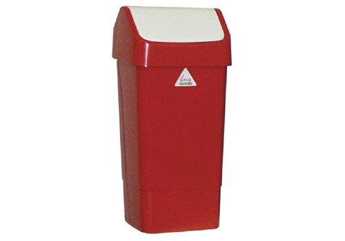 HorecaTraders Afvalbak Rood met Schommeldeksel | 50 Liter