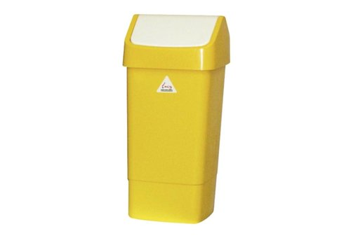 HorecaTraders Waste Bin Yellow with Swing Cover | 50 liters