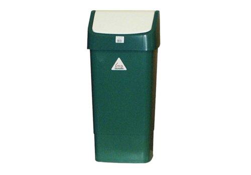 HorecaTraders Afvalbak Groen met Schommeldeksel | 50 Liter