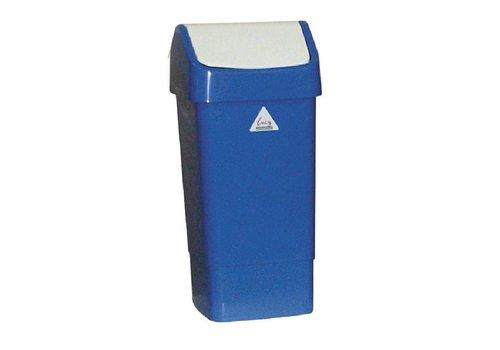 HorecaTraders Afvalbak Blauw met Schommeldeksel | 50 Liter