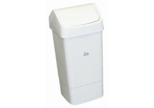HorecaTraders Afvalbak Wit met Schommeldeksel | 50 Liter
