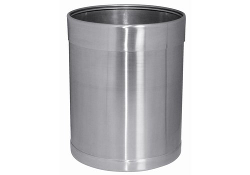 Bolero Round brushed stainless steel trash can 10 liters
