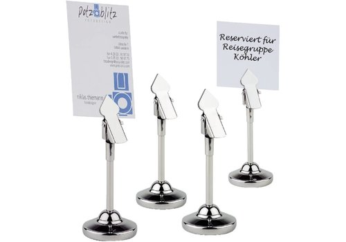 HorecaTraders Stainless Steel Table Number Holder | 4 pieces