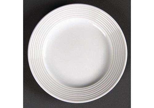 Olympia Plat porselein bord met brede rand 15 cm (stuks 12)