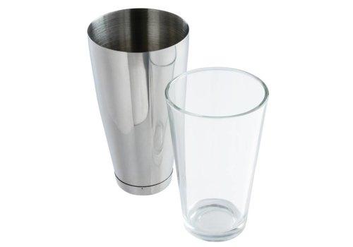 HorecaTraders Boston Shaker 800ml and 455ml glass