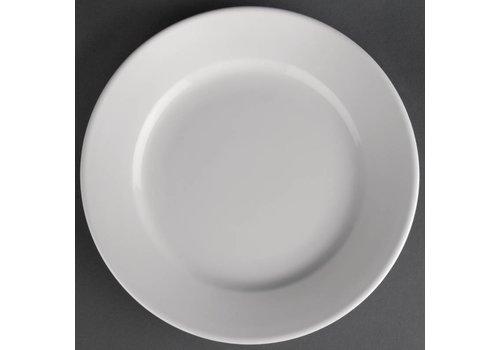 Athena Weißen Porzellanteller mit breiten Rande | 16,5 cm (12 Stück)