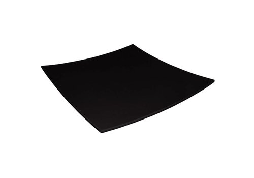 HorecaTraders Melamine Gebogen Vierkant Bord Zwart   2 Formaten
