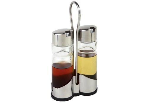 HorecaTraders Tafelset olie- en azijnflesjes | met houder