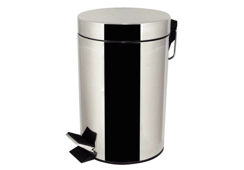 HorecaTraders Stainless steel round waste bin with pedal | 3 L