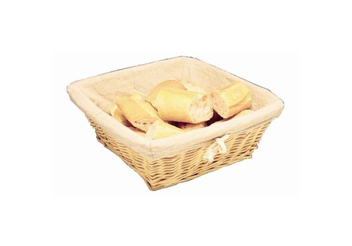 HorecaTraders Bread basket square with cover   23 x 23 x 10 cm