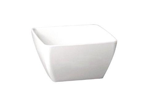 HorecaTraders Melamin weißes Quadrat Schüssel   4 Größen