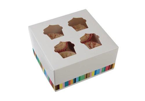 HorecaTraders Cupcake boxes for 4 cupcakes (4 pieces)