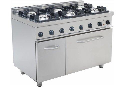 Saro Horeca Gasoven met 6 branders en elektrische oven