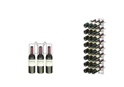 HorecaTraders 24 Flaschen Weinregal - Wandhalterung