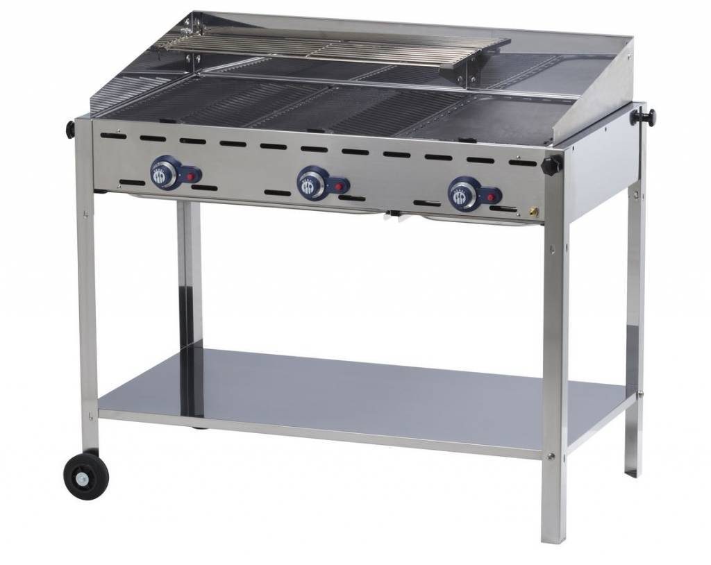 Hendi professioneel gas barbecue met 3 branders horecatraders - Plancha trolley gas met deksel ...
