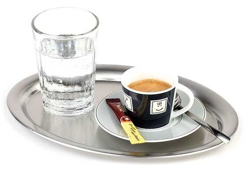 APS Stainless Steel Coffee Serving Tray | beaded edge