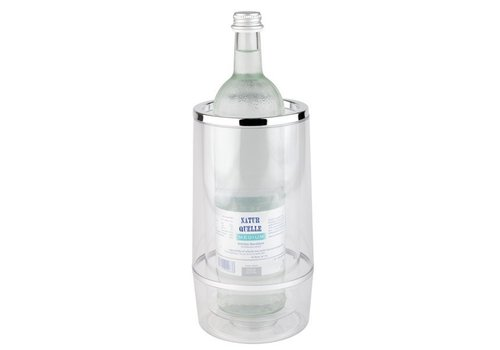 APS Transparent wine bottle Cooler with luxury chrome border