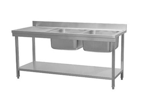 HorecaTraders Waschbecken mit Regal | 2 Waschbecken rechts | 180x70x90 cm
