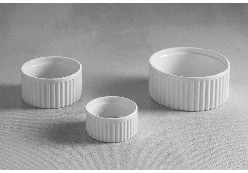 Hendi Gerippte weißes Porzellan Ramekin 9x5cm | 6 Stück