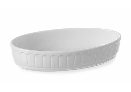Hendi Weiße Porzellanbackform Oval 34x20,5 cm