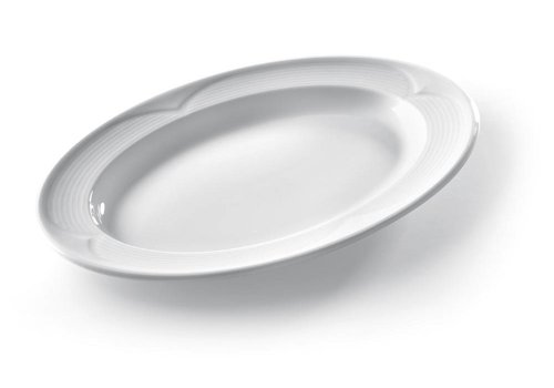 Hendi Oval Servierschalen Weißes Porzellan | 34x24cm (6 Stück)